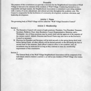 Wolf Village Neighborhood Association constitution