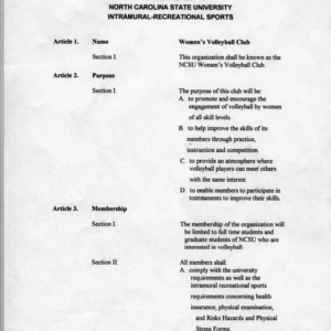 Women's Club Volleyball constitution