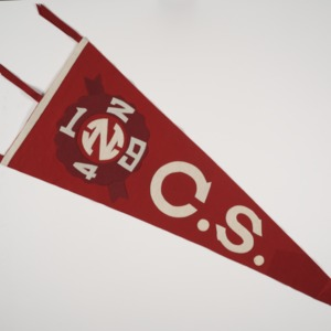 """Pennant, reads """"N. C. S."""" with 1924 in circle"""