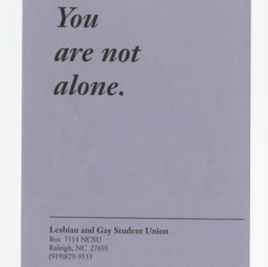 You are not alone. -- Lesbian and Gay Student Union