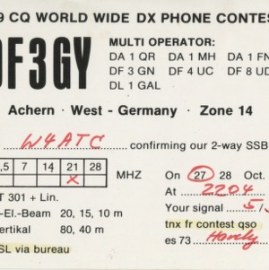 QSL Card from DF3GY, Achern, Germany, to W4ATC, NC State Student Amateur Radio