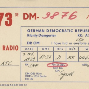 QSL Card from 73DECM-9876/A, Berlin, Germany, to W4ATC, NC State Student Amateur Radio