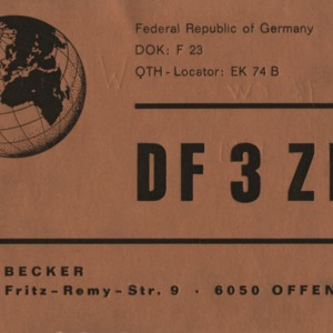 QSL Card from DF3ZK, Offenback, Germany, to W4ATC, NC State Student Amateur Radio