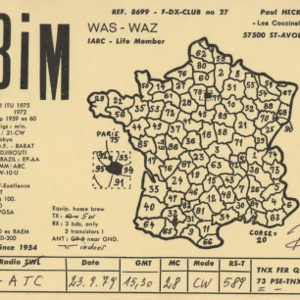 QSL Card from F3iM, St-Avod, France, to W4ATC, NC State Student Amateur Radio
