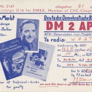 QSL Card from DM2APG, Berlin, Germany, to W4ATC, NC State Student Amateur Radio