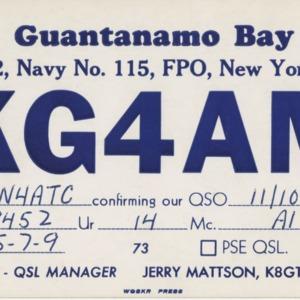 QSL Card from KG4AM, New York, N.Y., to W4ATC, NC State Student Amateur Radio