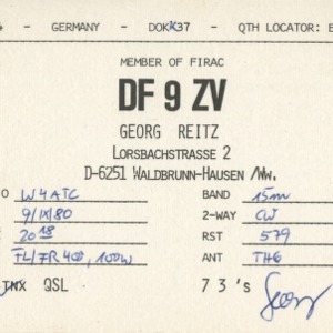 QSL Card from DF9ZV, Waldbrunn-Hausen, Germany, to W4ATC, NC State Student Amateur Radio