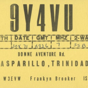 QSL Card from 9Y4VU, Gasparillo, Trinidad, to W4ATC, NC State Student Amateur Radio