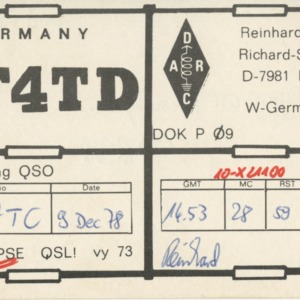 QSL Card from DF4TD, Berg, Germany, to W4ATC, NC State Student Amateur Radio