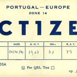 QSL Card from CT1ZE, Porto, Portugal, to W4ATC, NC State Student Amateur Radio