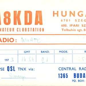 QSL Card from HA8KDA, Budapest, Hungary, to W4ATC, NC State Student Amateur Radio