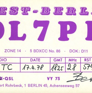 QSL Card from DL7PR, Berlin, Germany, to W4ATC, NC State Student Amateur Radio