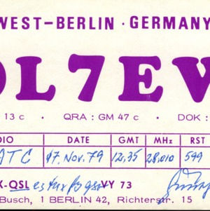 QSL Card from DL7EW, Berlin, Germany, to W4ATC, NC State Student Amateur Radio