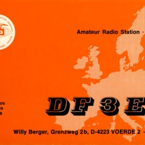 QSL Card from DF3EH, Voerde, Germany, to W4ATC, NC State Student Amateur Radio