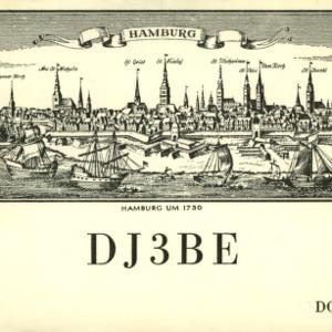 QSL Card from DJ3BE, Hamburg, Germany, to W4ATC, NC State Student Amateur Radio