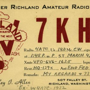 QSL Card from 7KHZ, Richland, Wash., to W4ATC, NC State Student Amateur Radio