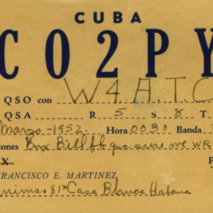 QSL Card from CO2PY, Havana, Cuba, to W4ATC, NC State Student Amateur Radio