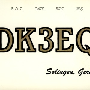 QSL Card from DK3EQ, Solingen, Germany, to W4ATC, NC State Student Amateur Radio