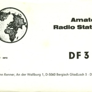QSL Card from DF3KL, Bergisch Gladbach, Germany, to W4ATC, NC State Student Amateur Radio