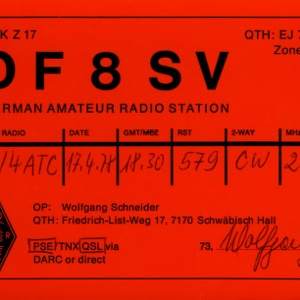 QSL Card from DF8SV, Tübingen, Germany, to W4ATC, NC State Student Amateur Radio
