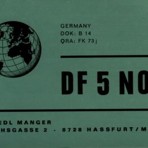 QSL Card from DF5NO, Hassfurt, Germany, to W4ATC, NC State Student Amateur Radio