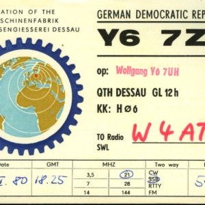 QSL Card from Y67ZH, Berlin, Germany, to W4ATC, NC State Student Amateur Radio