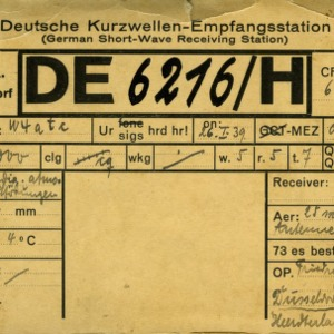 QSL Card from DE6216/H, Dusseldorf, Germany, to W4ATC, NC State Student Amateur Radio