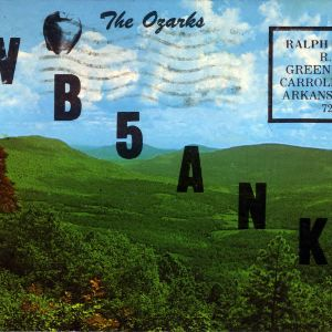 QSL Card from AB5ANK, Green Forest, Ark., to W4ATC, NC State Student Amateur Radio