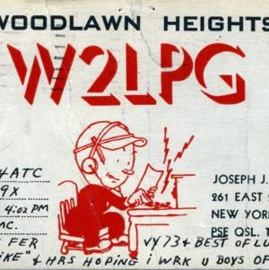 QSL Card from W2LPG, New York, N.Y., to W4ATC, NC State Student Amateur Radio