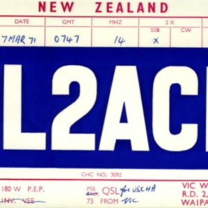 QSL Card from ZL2ACP, Waipawa, New Zealand, to W4ATC, NC State Student Amateur Radio