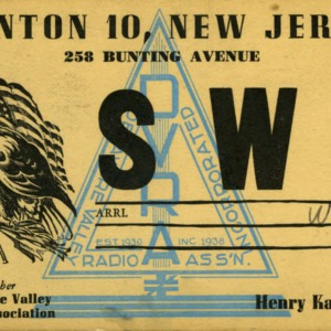 QSL Card from SWL-W2, Trenton, N.J., to W4ATC, NC State Student Amateur Radio