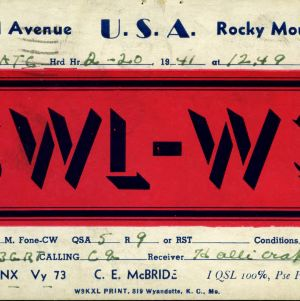 QSL Card from SWL-W3, Rocky Mount, Va., to W4ATC, NC State Student Amateur Radio