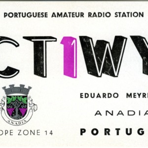 QSL Card from CT1WY, Anadia, Portugal, to W4ATC, NC State Student Amateur Radio