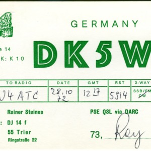QSL Card from DK5WE, Germany, to W4ATC, NC State Student Amateur Radio