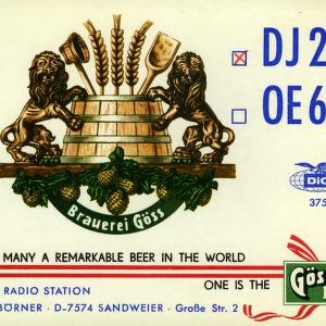 QSL Card from DJ2SB, Sandweier, Germany, to W4ATC, NC State Student Amateur Radio