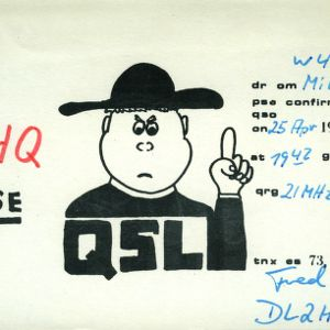 QSL Card from DL2HQ to W4ATC, NC State Student Amateur Radio