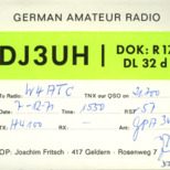 QSL Card from DJ3UH, Geldern, Germany, to W4ATC, NC State Student Amateur Radio