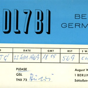 QSL Card from DL7BI, Berlin, Germany, to W4ATC, NC State Student Amateur Radio
