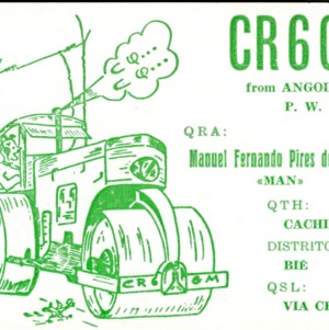 QSL Card from CR6GM, Angola, to W4ATC, NC State Student Amateur Radio
