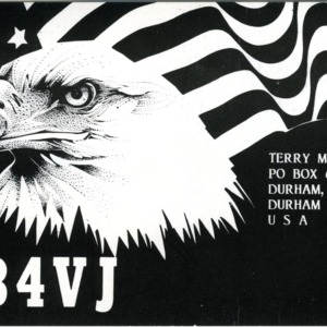 QSL Card from AB4VJ, Durham, N.C., to W4ATC, NC State Student Amateur Radio