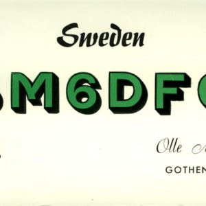 QSL Card from SM6DFO, Gothenburg, Sweden, to W4ATC, NC State Student Amateur Radio