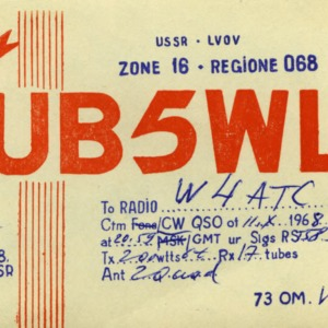 QSL Card from UB5WL, Moscow, USSR, to W4ATC, NC State Student Amateur Radio