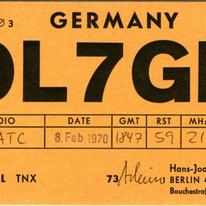 QSL Card from DL7GP, Berlin, Germany, to W4ATC, NC State Student Amateur Radio