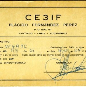 QSL Card from CE3IF, Santiago, Chili, to W4ATC, NC State Student Amateur Radio