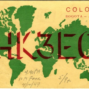 QSL Card from HK3EO, Bogota, Colombia, to W4ATC, NC State Student Amateur Radio