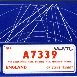 QSL Card from A7339, Pleasley Hill, Mansfield, England to W4ATC, NC State Student Amateur Radio