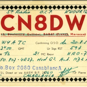 QSL Card from CN8DW, Casablanca, Morocco, to W4ATC, NC State Student Amateur Radio