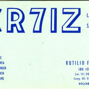 QSL Card from CR7IZ, Ibo Island, Moçambique, to W4ATC, NC State Student Amateur Radio