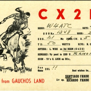 QSL Card from CX2BT, Montevideo, Uruguay, to W4ATC, NC State Student Amateur Radio