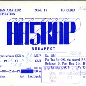 QSL Card from HA5KAP, Budapest, Hungary, to W4ATC, NC State Student Amateur Radio